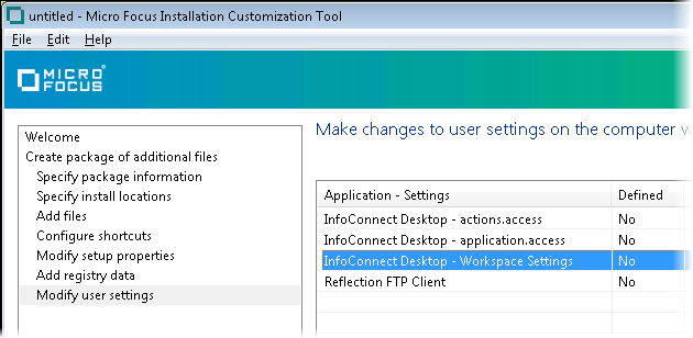 "Use ""Modify User Settings"" to Configure Workspace Settings"